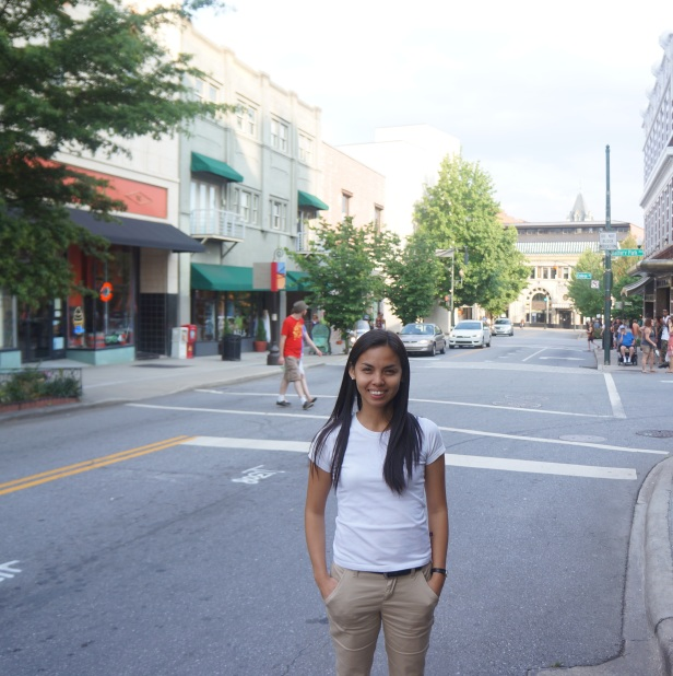 Standing in the middle of one of downtown Asheville's hippie streets.