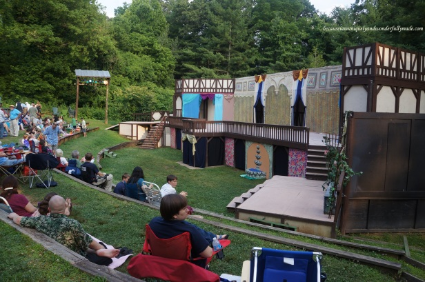 The open outdoor theatre for the play under the stars, Much Ado About Nothing, in Asheville, North Carolina.