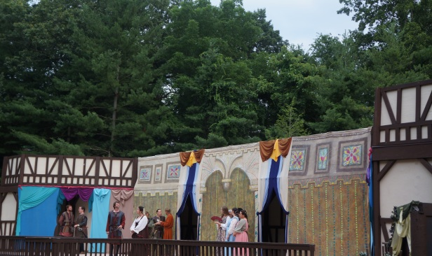 Much Ado About Nothing, a play under the stars in an open outdoor theatre in Asheville, North Carolina.