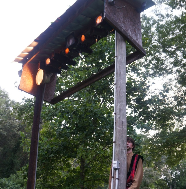 One of the actors interacting with the audience in Much Ado About Nothing, a play under the stars in an open outdoor theatre in Asheville, North Carolina.