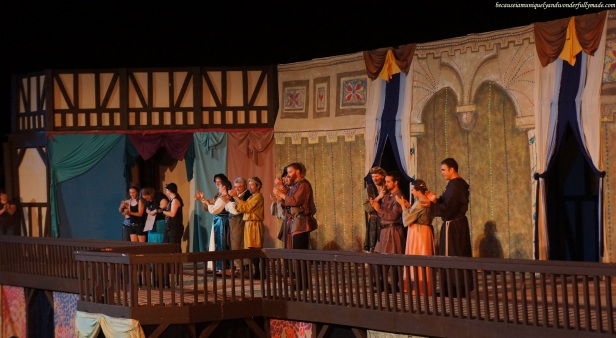 The entire cast of Much Ado About Nothing, a play under the stars in an open outdoor theatre in Asheville, North Carolina.