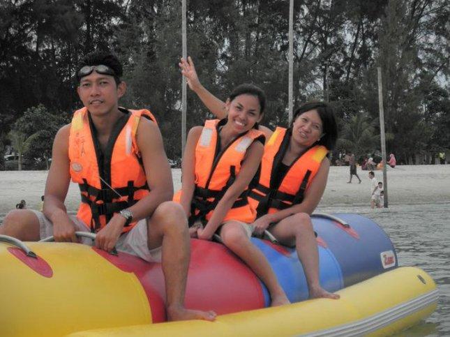 With friends enjoying Port Dickson in Negeri Sembilan, Malaysia.
