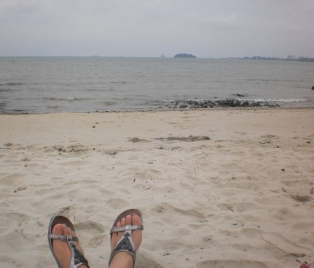 Fine sand beach in Port Dickson, Negeri Sembilan, Malaysia.