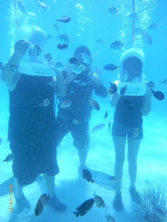 Carlo, diving instructor and me on Underwater Adventure (Seawalk), Panglao, Bohol, Philippines