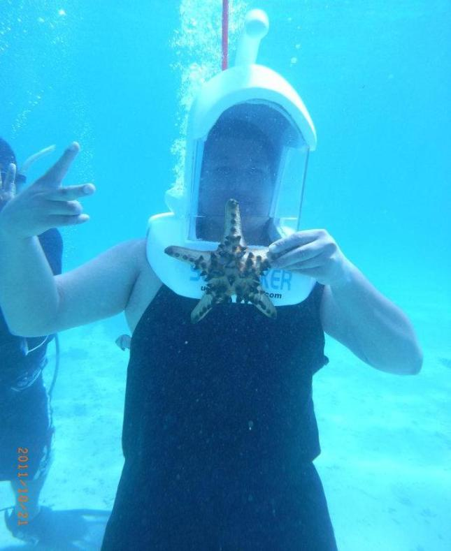 Carlo during his Underwater Adventure (Seawalk), Panglao, Bohol, Philippines