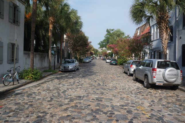 Cobbled-stone street in Charleston, South Carolina.