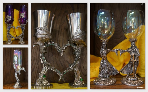Pewter goblet heart sets paired to make one heart at Starrlight Mead in Pittsboro, North Carolina.
