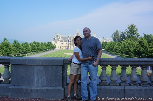 Hubby and I in front of the grandiose Biltmore House at the Biltmore Estate in Asheville, North Carolina.