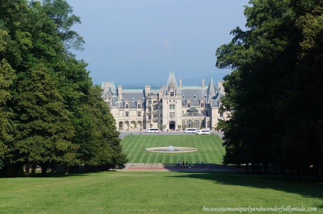 View of Biltmore House in Asheville, North Carolina from Diana's gazebo uphill.