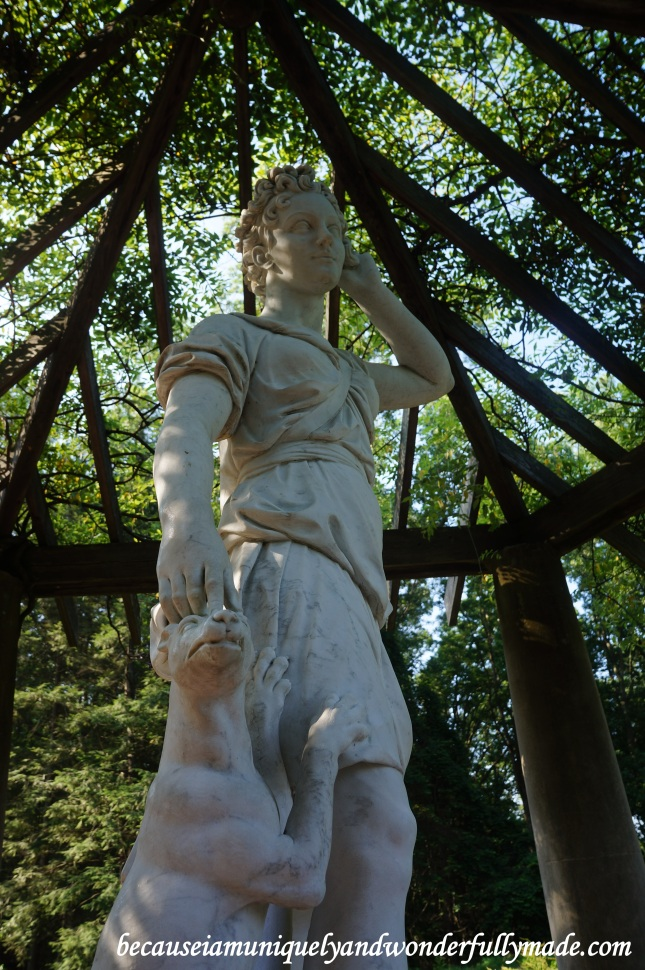 One of the statues located uphill overlooking the Biltmore House and Estate in Asheville, North Carolina.