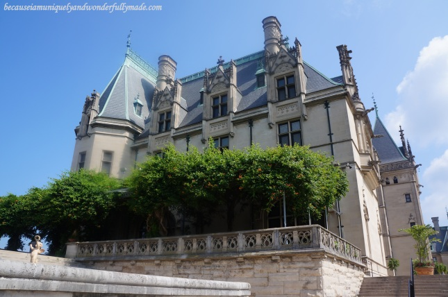 A closer view of the side of the Biltmore House at Biltmore Estate in Asheville, North Carolina.