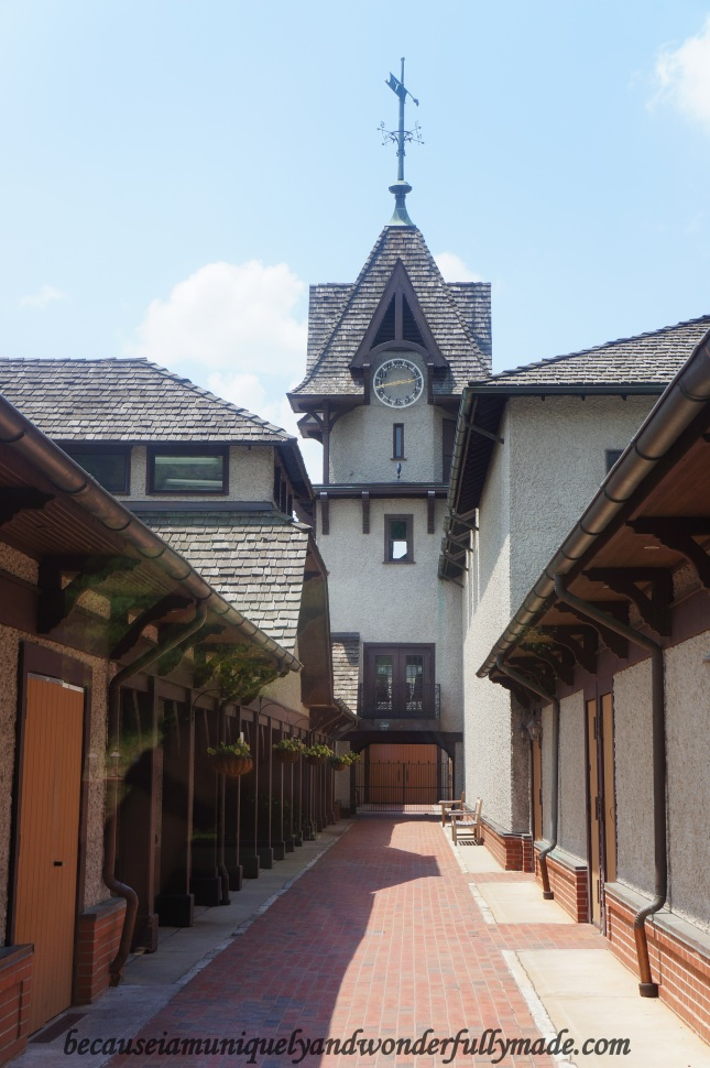 The famous Winery Clock Tower at the Antler Village in Biltmore House and Estate in Asheville, North Carolina.