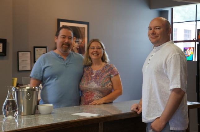 left to right : the Starr couple, Ben and Becky, and hubby Jon Sellers at Starrlight Mead in Pittsboro, North Carolina.