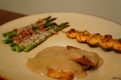 lemon tilapia fillet, grilled shrimp and bacon-wrapped asparagus