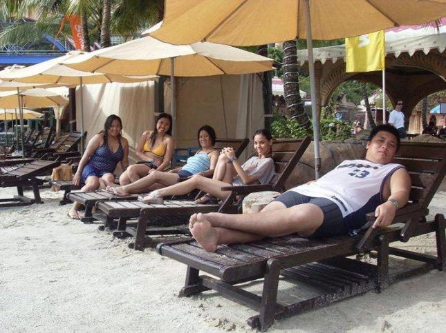At the man-made beach made to look real at Sunway Lagoon in Petaling Jaya, Malaysia.