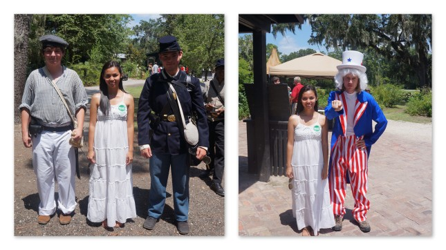 with Civil War and Uncle Sam reenactors at Magnolia Plantation, Charleston, South Carolina