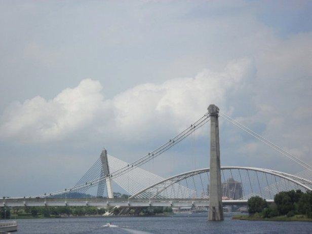 View of Seri Wawasan Bridge while aboard Cruise Tasik Putrajaya during the annual Hot Air Balloon Festival in Putrajaya, Malaysia.