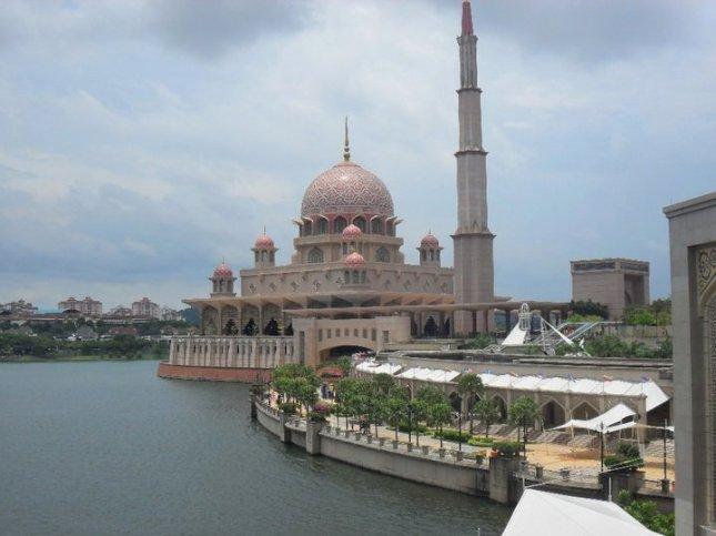 View of Putra Mosque while aboard Cruise Tasik Putrajaya during the annual Hot Air Balloon Festival in Putrajaya, Malaysia.