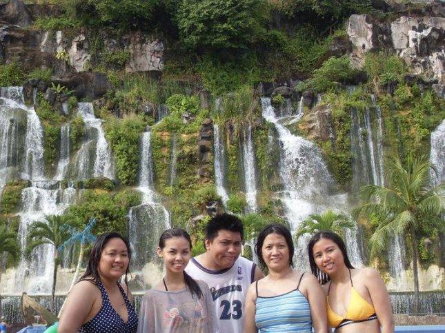 The man-made waterfall at Sunway Lagoon in Petaling Jaya, Malaysia.