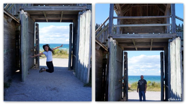 Hubby and I at the gate of Fort Michilimackinac, Michigan.