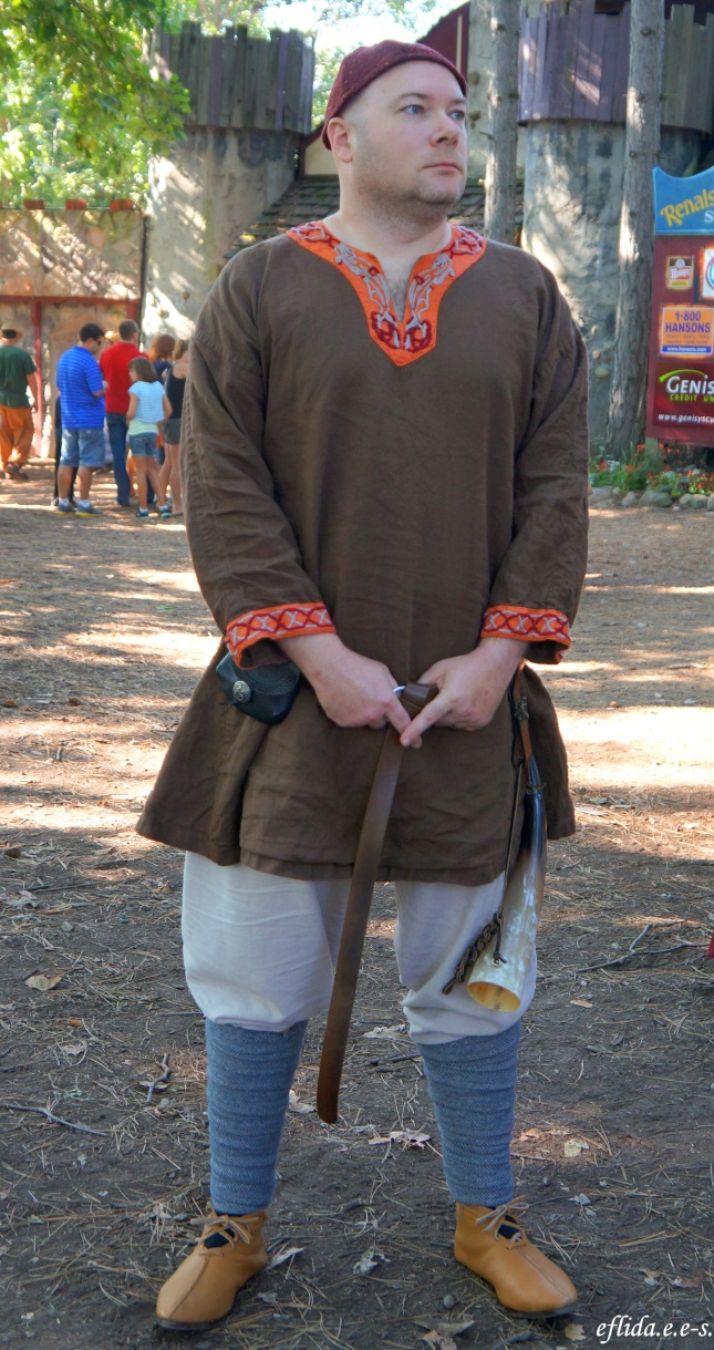 Hubby properly dressed as Saxon Aethelstan at Michigan Renaissance Faire 2012 in Holly, Michigan.