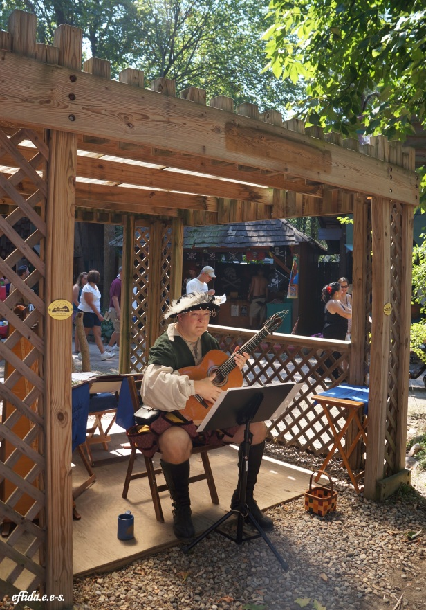 A musician at the gazebo in Michigan Renaissance Faire.