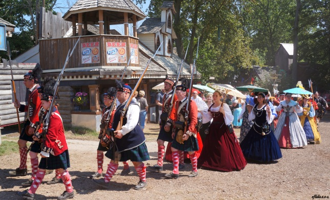 The Royal Guards and Royal Court during the Queens Parade at Michigan Renaissance Faire 2012 in Holly, Michigan.