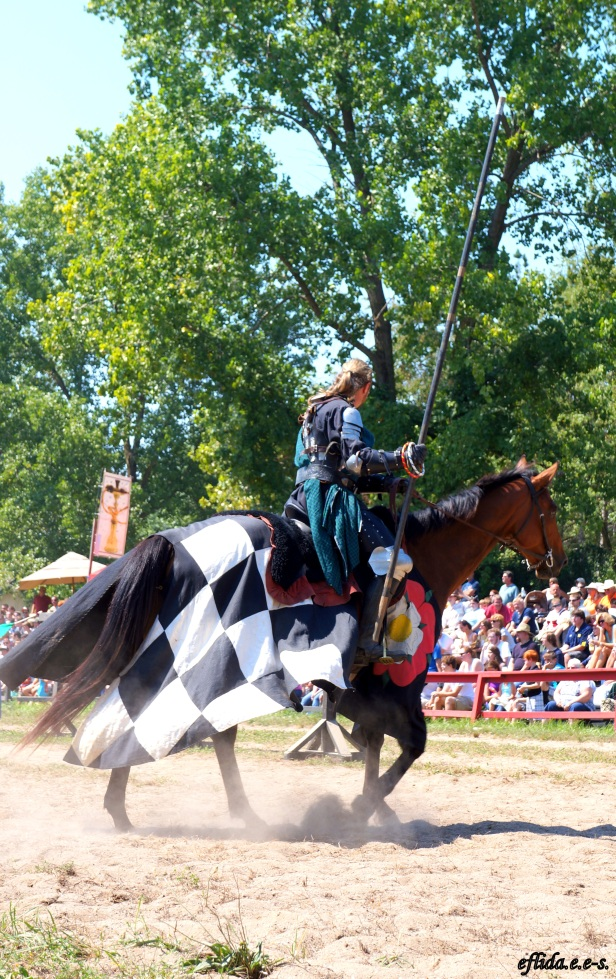 Knight in shining armor during a joust at Michigan Renaissace Faire 2012 in Holly, Michigan.