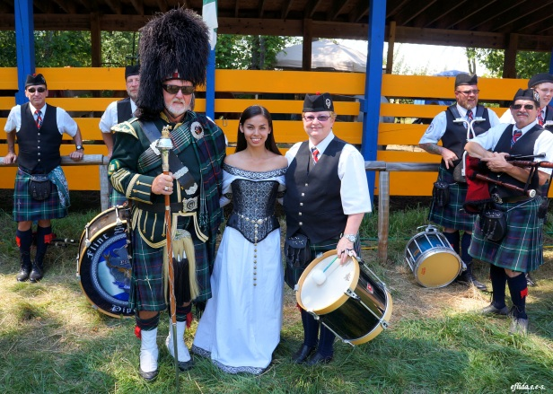 With the band major, Don Bussell, of Flint Scottish Pipe Band at Michigan Renaissance Faire.