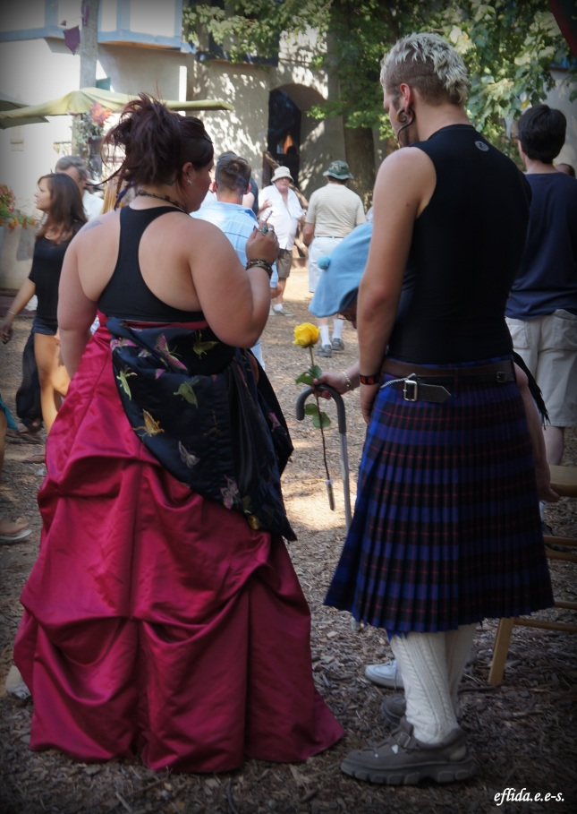 A couple enjoying Michigan Renaissance Faire.