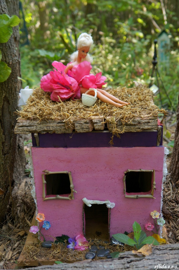 A rose pink fairy house at Michigan Renaissance Faire 2012.