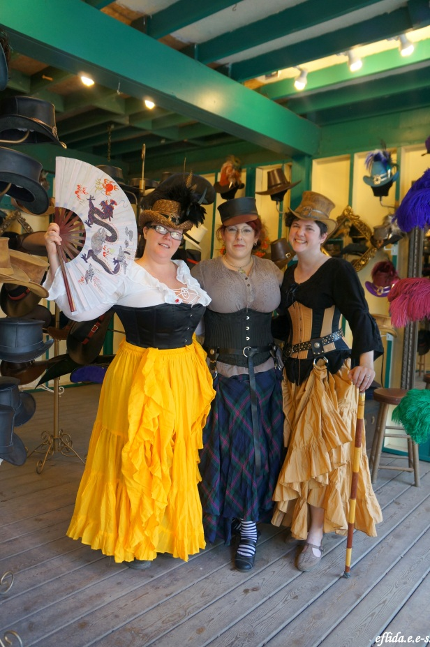 Ladies in corsets and hats at Michigan Renaissance Faire in Holly, Michigan.