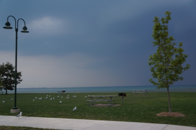 View of Lake Huron in Michigan from Tawas City Gateway Park.