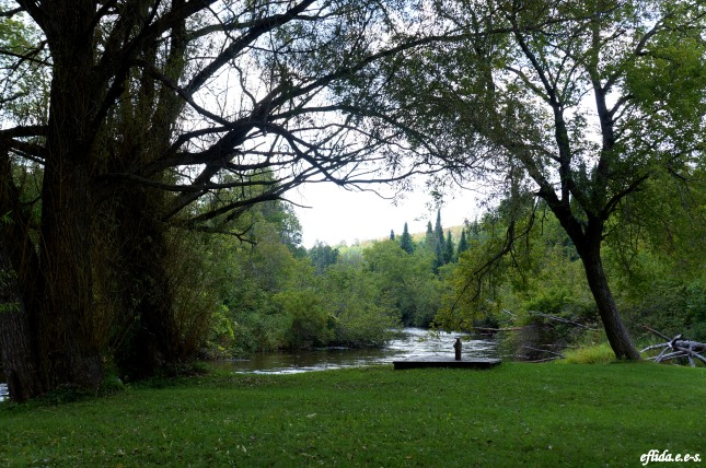 View of Sturgeon River from Wolverine Village Park in Michigan.