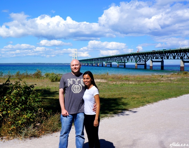 Hubby and I with Lake Michigan and Mackinac Bridge at the background
