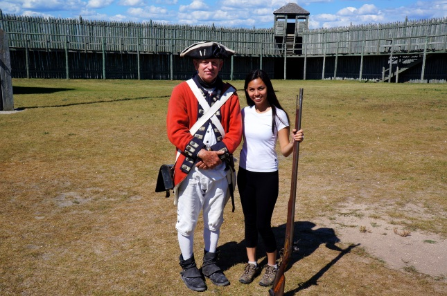 With an actor playing as British soldier at Fort Michilimackinac, Michigan.