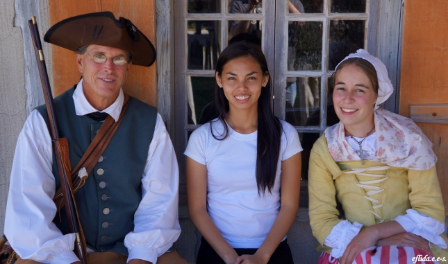 With an actor and actress at Fort Michilimackinac, Michigan.