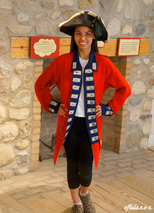 Acting as a British soldier at Fort Michilimackinac, Michigan.