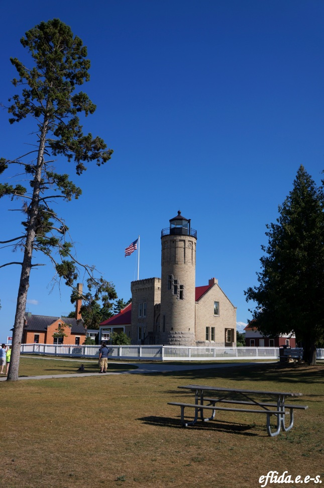 Old Mackinac Point Lighthouse at Fort Michilimackinac, Michigan.
