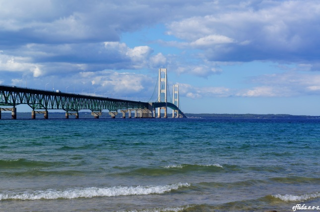 Lake Huron and Mackinac Bridge, Michigan.