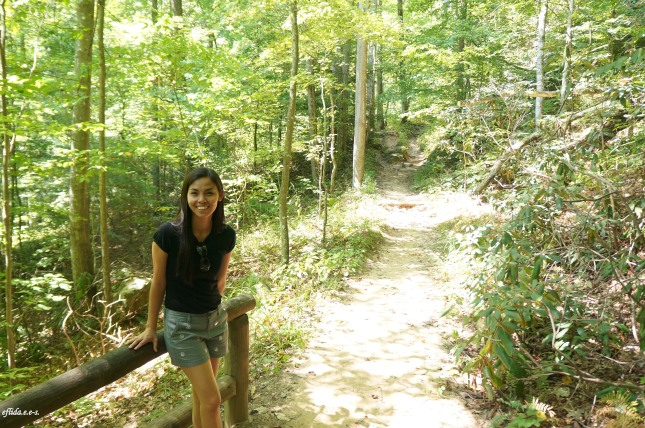 Hiking one of the trails at Natural Bridge State Park in Kentucky, USA.