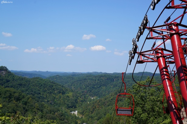 The sky lift at Natural Bridge Resort in Kentucky, USA. Hubby and I chose to hike trails going back instead.