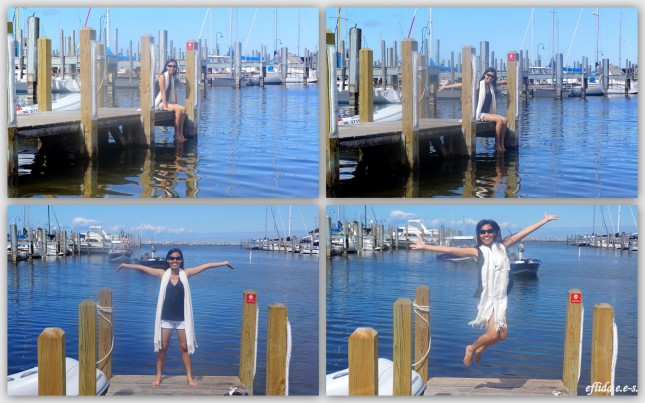 Enjoying Lake Michigan at Petoskey marina in Petoskey, Michigan.