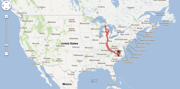 Road trip route from North Carolina to Michigan.