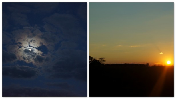 Moonlight and sunset in Ohio, USA.