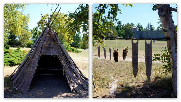 A tipi and drying fur at Fort Michilimackinac, Michigan.