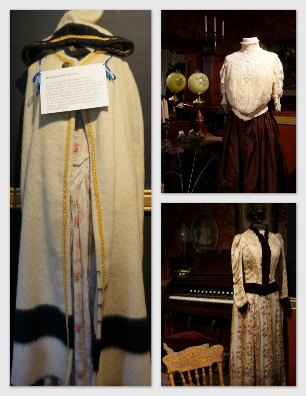 Some displays of vintage clothing inside Little Traverse Historical Museum in Petoskey, Michigan. On the left is the robe for Michigan Winter Queen which has been passed on from winner after winner.