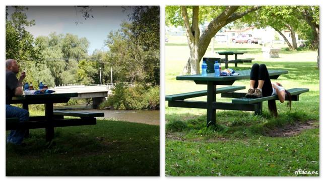 Wolverine Village Park on the side banks of Sturgeon River in Wolverine, Michigan.