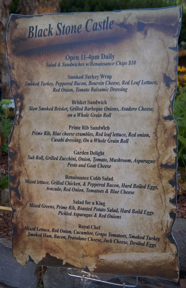Menu at Blackstone Castle Cafe at Michigan Renaissance Faire.