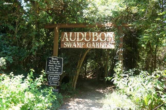 Entrance to Audubon Swamp Garden at Magnolia Plantation in Charleston, South Carolina.